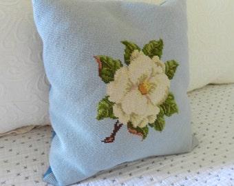 Vintage Needlepoint Pillow. Magnolia Flower. Southern Cottage Home Decor