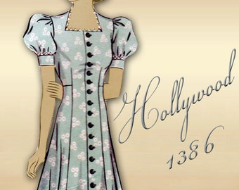 1930s Day Dress Pattern Front Button Closure Princess Seams Slim Silhouette with Short Puff Sleeves Shaped Neck Flared Skirt Hollywood 1386