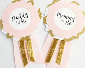 Pink and Gold Mommy Corsages, Baby Shower Corsages, Mommy to Be, Daddy to Be Pin Corsages Badge, Pink Gold Baby Shower, Grandma to Be