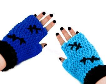 Royal Blue & Turquoise Crochet Gloves. Frankensteins Monster Fingerless Gloves. Cat Paw Texting Mittens. Womens Spooky Finger Less Gloves