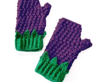 Blackberry Fingerless Gloves Kawaii Purple & Green Crochet Womens Texting Mittens Cute Girls Finger Less Hand Warmers Kawaii Fruit Gloves
