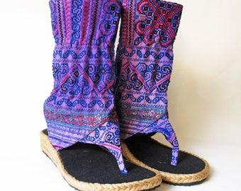 Purple Haze Boho Sandals - Unique Tribal Flip Flops - Ethnic Textile Summer Boots - Various Sizes