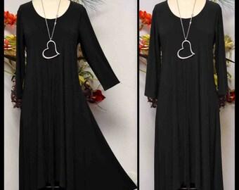 Elegant Designer Dress, Lagenlook Dress ,Swing Dress, Asymmetrical dress, Long dress, Black dress, maxi dress, Hi low Dress