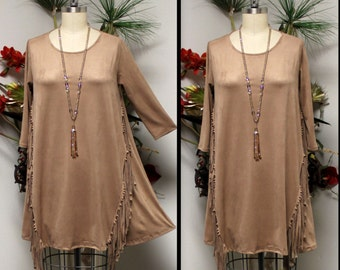 New Adorable, Suede Tunic, Western Wear Tunic, Fringe Detail Tunic, Suede Dress, Suede Top.