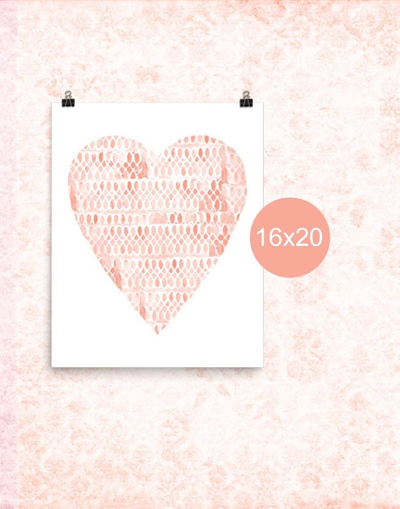 Coral Heart Nursery Poster, 12x16, 16x20