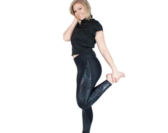 Iridescent Yoga Pants Black Leggings with Metallic Panel Full Length Zumba Leggings Holographic Spandex Foil Active Wear