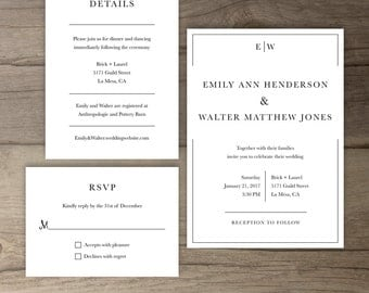 Classic Wedding Invitations • Simple Timeless Invite Suite • Modern and Traditional • printable
