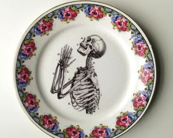 Vintage Anatomical Skeleton Praying Hands Plate Altered Art gothic