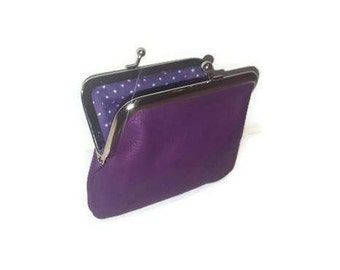 Purple leather kiss lock coin purse, snap clasp wallet lined in polka dot Fabric