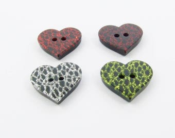 Crazed Glitter Heart Shaped Buttons (5pk)