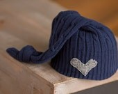 Newborn Upcycled Hat, Newborn Boy Hat, Navy Blue Hat with Gray Heart, Newborn Photography Prop, Ready to Ship Photo Prop, Sleepy Time Hat