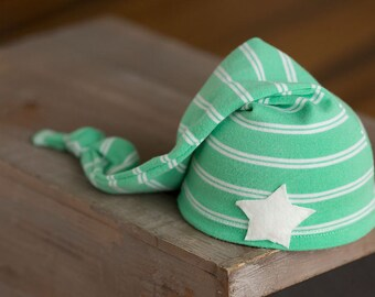 Upcycled Newborn Hat, Green and White Striped Sleepy Time Hat, Newborn Photo Prop, Newborn Photography, Knot Hat, Newborn Hats, Newborn Boy