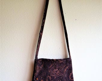 Fabric Purse Handmade from recycled materials messenger bag with cross body strap shoulder bag from Cant Have Enough