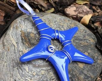 Star ornament  cobalt blue