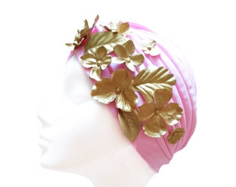 Pink and gold women's turban hat. Fashion turban. Embellished turban. Flower turban. Gold flower turban. Bridal turban hat. Gift idea.