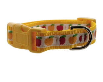 "Apples Dog Collar 3/8"" or 5/8"" Yellow Dog Collar"