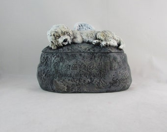 Ceramic Engraved Dandie Dinmont Terrier Painted Cremation Urn - hand made pet urn