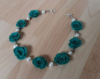 Rose Necklace, Teal Flower, Statement Piece, Flower Choker, Gift Idea, Polymer Rose, Birthdays, Mothersday