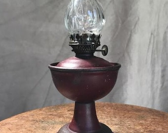 Tiny Metal Oil Lamp with Glass Shade