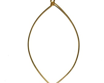 2 Brass Ear Wire, Long Ear Wire, Oval, Hoops, Earring Drops, 82x43 mm