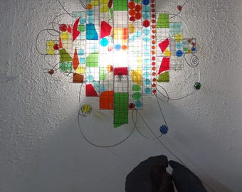 Colorful sconce, wall lamp, recycle glass, mosaic, red,  green, yellow, blue, orange