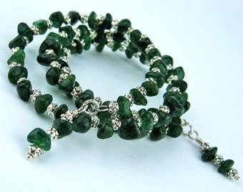 Green Aventurine, Prosperity, Memory Wire Bracelet, Silver Plated Wire, Multi Wrap Bracelet, Handmade, Dark Green, Semi Precious Stones