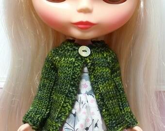 BLYTHE doll hand knit wool cardigan sweater - ivy green