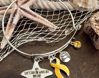 Yellow Ribbon Charm Bracelet / Learn to Surf / Adenosarcoma, Bladder Liver Bone Cancer / Osteosarcoma / Endometriosis, Spina Bifida