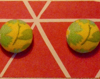 Yellow with blue and green floral pattern Handmade unique fabric covered button earrings (1.5cm, surgical steel posts and clutch)