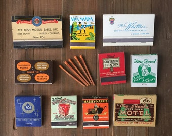 Set of 10 Vintage Matchbooks & Matchbox from Huge Collection - US, Canada and International Restaurants, Hotels and Bars - Huge Variety