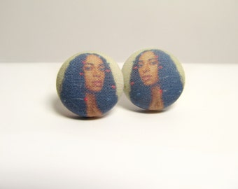 Solange Fabric Button Earrings