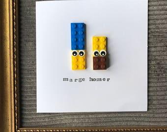 Lego Simpsons Card, Homer, Marge, Birthday Boy Girl, Funny