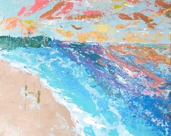 Original Fine Art Rainbow Beach Landscape Acrylic Painting Wall Art 16 x 20 inches Canvas board