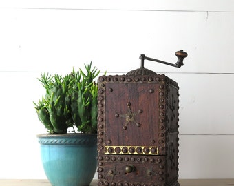 Antique Coffee Grinder, Folk Art, Large Coffee Mill, Brass Details, Texas Star, Unique Kitchen Decor | BoulderBlueStudio