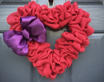 Red Heart Wreath, Burlap Heart, Red and Purple, Red Heart Decor, Heart Decorations, Love Gift, Gift for Her, Red Burlap Heart, Heart Door