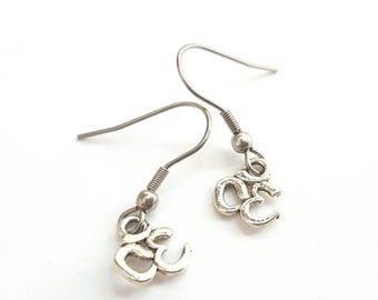 Silver Om Earrings with Stainless Steel Earwires - Tibetan Silver