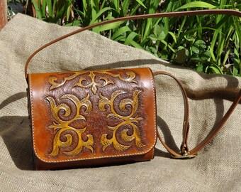 Cognac Leather Handbag, messenger handbag in Kazakhsha style, Modern shape and roomy interior, Ethnic pattern, customization available