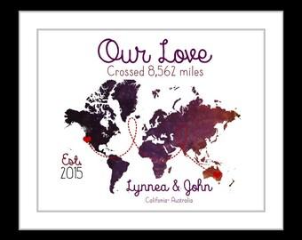 Long distance relationship, anniversary gift, custom world map, first anniversary, long distance girlfriend, boyfriend gift, deployment gift
