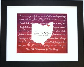 Ohio home state with song lyric ohio state art valentine gift for him ohio housewarming print ohio wall art custom song lyric art home decor