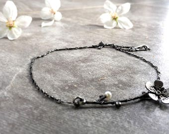 Silver Cherry Blossom Necklace. Silver and Pearl Flower Blossom Necklace