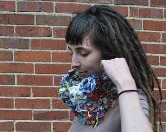 Funky Fabric Scrap Cowl // Ooak