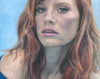 Color Drawing Print of Actress Jessica Chastain