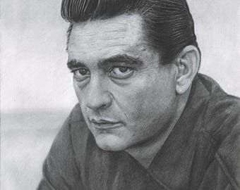 Pencil Drawing Print of Johnny Cash (8.5 x 11)