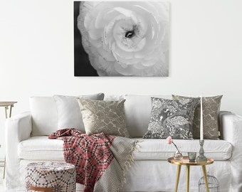 "Black and White Ranunculus Flower Canvas Wall Art, Ready to Hang Gray Floral Canvas Print, Choice of Size from 8""x10"" to 30""x40"", ""Elegance"""