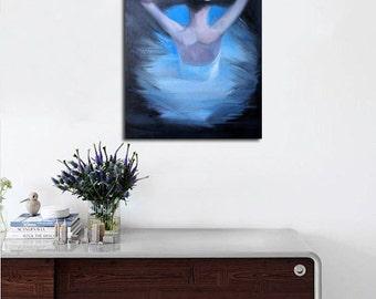Blue Modern Wall Art Print - Canvas Art Woman Painting Print, Ballerina Art Ballet Dancer Print