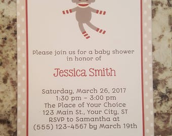 Printable Sock Monkey Baby Shower Invite mms006
