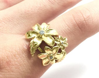 Nature Inspired Promise Ring - Plated Gold and Cubic Zirconia Ring, Gold Flower Ring, Floral Gold Ring, Gift For Mom, Birthday Gift For Her