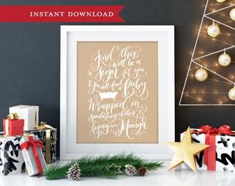 Christmas bible verse, Christmas print, Printable christmas art, Christmas wall art, Holiday printable, Printable art, Christmas printable
