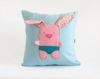 Pink Bunny Decorative Pillow Cover, Nursery Room Throw Pillow cushion, Blue Throw Pillow, Baby / Kids Room Decor, Cute Baby shower gift