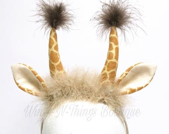 GIRAFFE COSTUME HEADBAND, Giraffe Ears, Safari Party, Adult, Child, Toddler, Lion King Play, Antlers, Spotted Giraffe, Jungle Theme, Girl